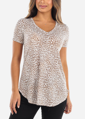 Image of Cream & Brown Animal Print V-Neck Shirt
