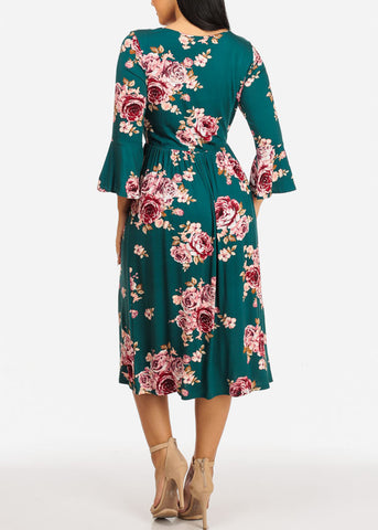 Image of Green Floral Print Dress