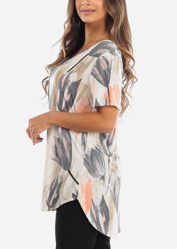 Plus Size Tulip Print V-Neck Shirt