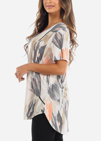 Image of Tulip Print V-Neck Shirt