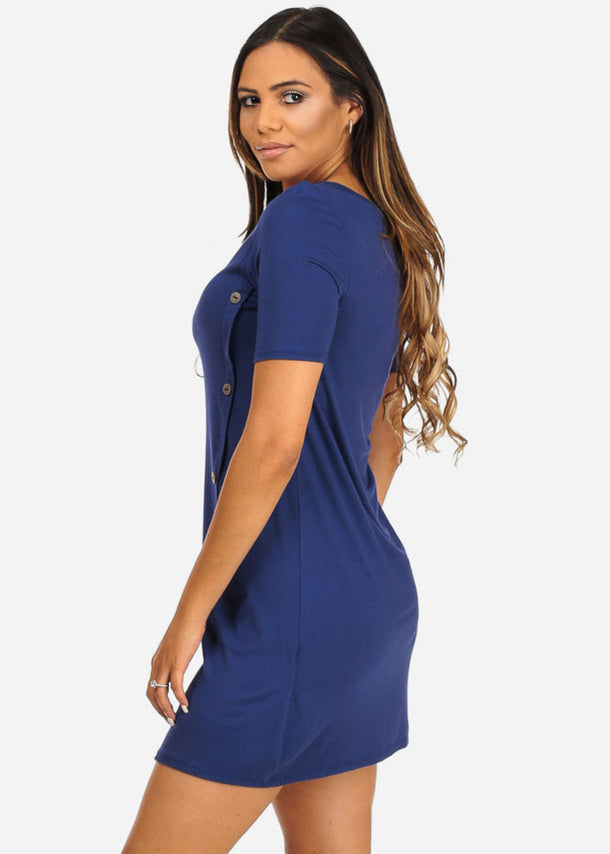 Classic Button Details Mini Dress