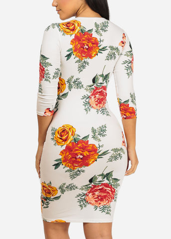 Image of White and Red Rose Bodycon Dress