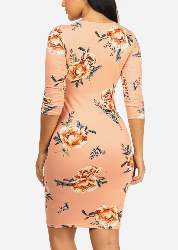 Pink Floral Bodycon Dress