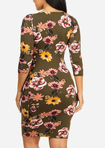 Image of Olive Floral Bodycon Dress