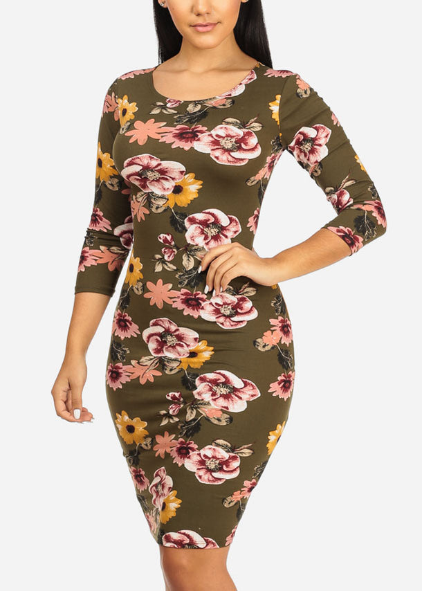 Olive Floral Bodycon Dress