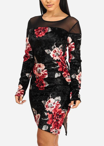 Image of Black Floral Side Slit Dress
