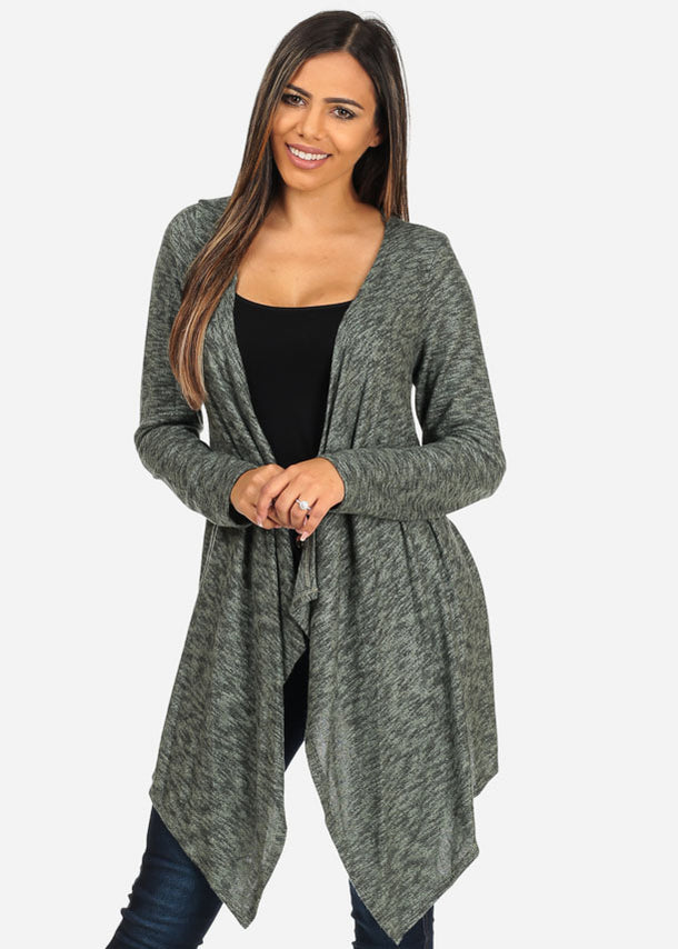 Green Asymmetrical Hem Cardigan
