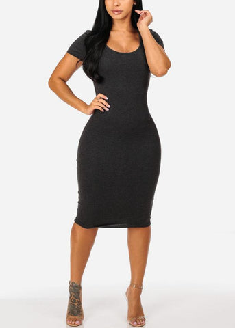 Grey Stretchy Bodycon Midi Dress