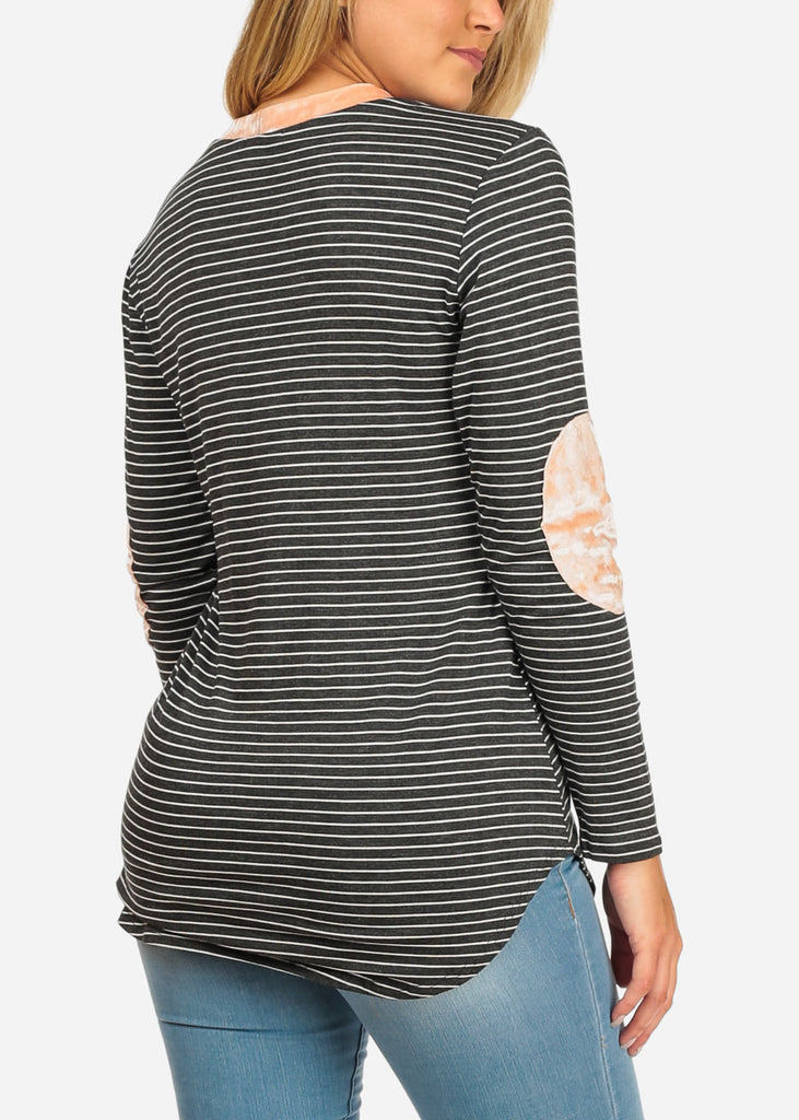 Women's Junior Ladies Casual Grey Stripe Patched Elbows Long Sleeve Stretchy Tunic Top