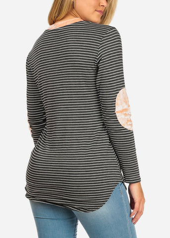 Image of Women's Junior Ladies Casual Grey Stripe Patched Elbows Long Sleeve Stretchy Tunic Top