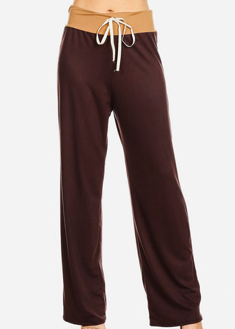 Relax Fit Colorblock Brown Pants