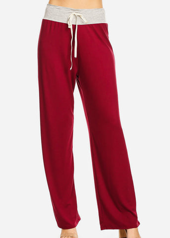 Relax Fit Colorblock Burgundy Pants