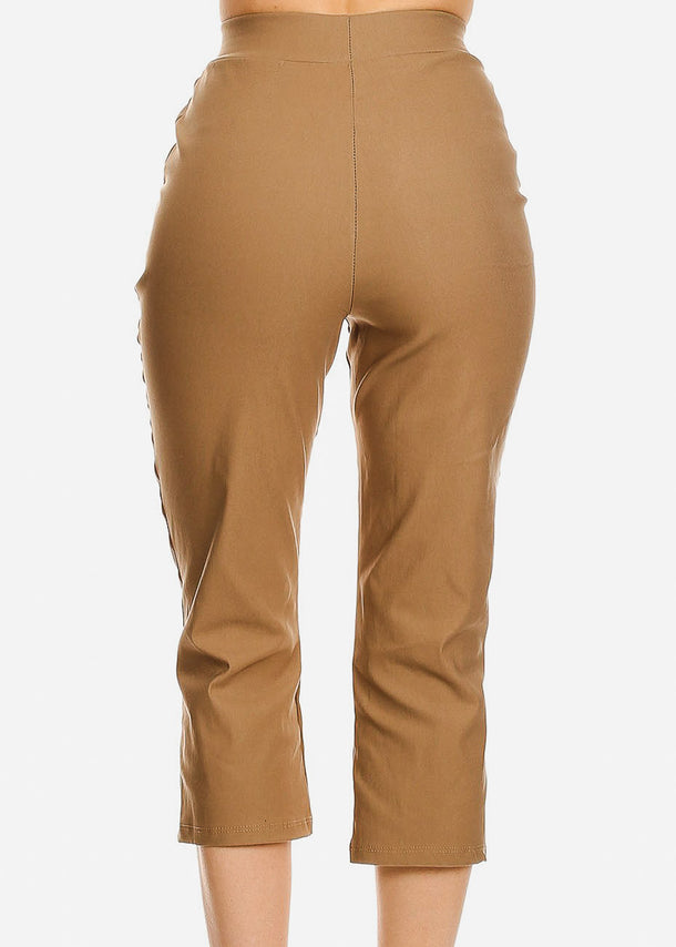 Khaki Pull On Dressy Cropped Pants