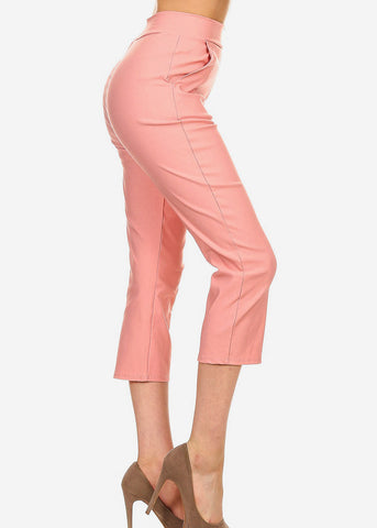 Image of Pink Pull On Dressy Cropped Pants