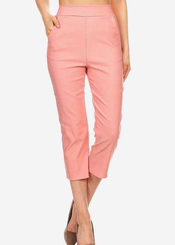 Pink Pull On Dressy Cropped Pants