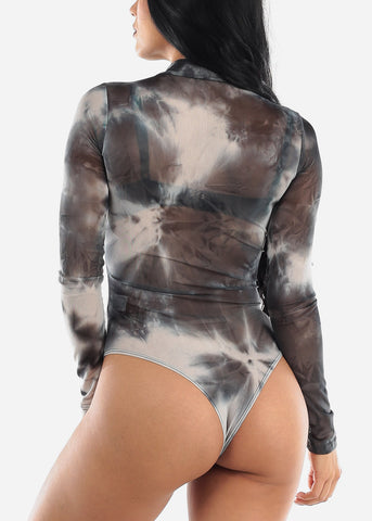 Grey Tie Dye See Through Bodysuit