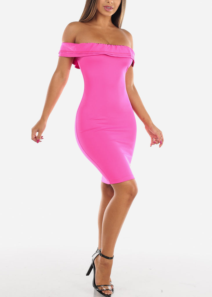 Sexy Bright Hot Pink Tight Fit Stretchy Off Shoulder Ruffle Bodycon Dress For Night Out Clubwear Party Women Ladies Junior