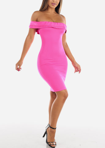 Image of Sexy Bright Hot Pink Tight Fit Stretchy Off Shoulder Ruffle Bodycon Dress For Night Out Clubwear Party Women Ladies Junior
