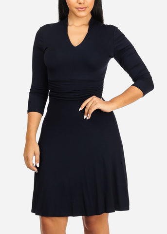 Navy Stretchy Flare Dress