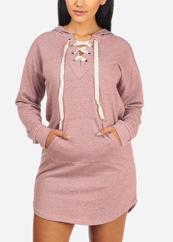 Image of Lace Up Neckline Pink Dress