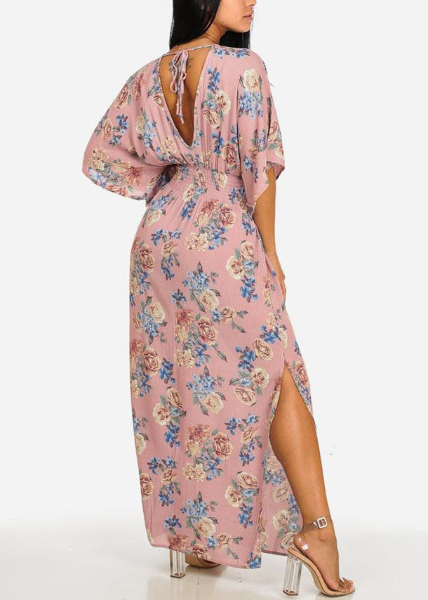 Rose Floral Side Slits Maxi Dress