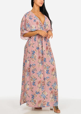 Image of Rose Floral Side Slits Maxi Dress