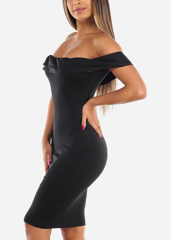 Image of Sexy Solid Black Tight Fit Stretchy Off Shoulder Ruffle Bodycon Dress For Night Out Clubwear Party Women Ladies Junior
