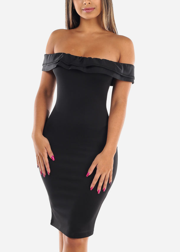 Sexy Solid Black Tight Fit Stretchy Off Shoulder Ruffle Bodycon Dress For Night Out Clubwear Party Women Ladies Junior