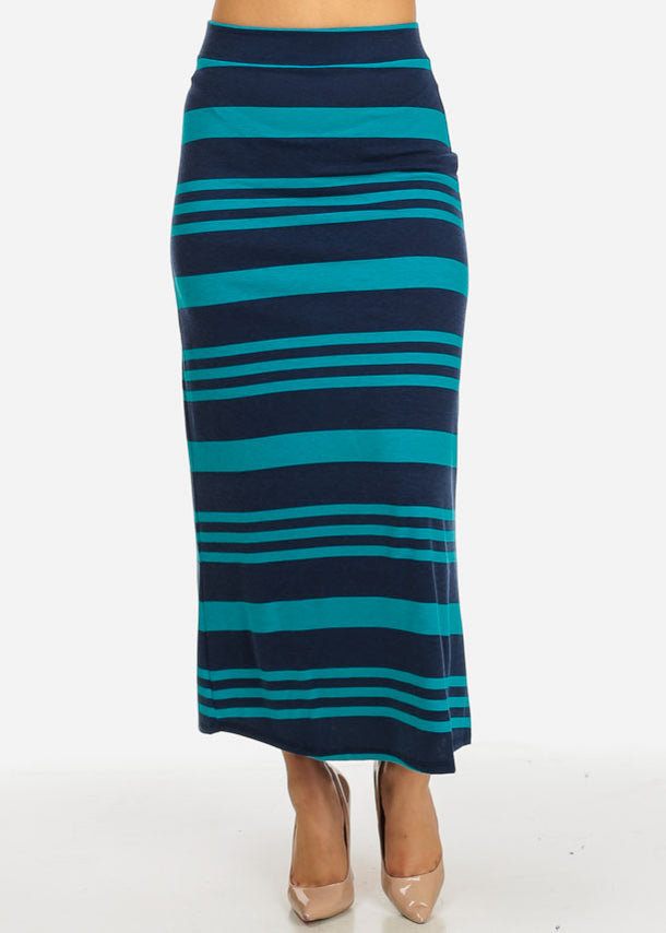 Navy and Teal Stripe Maxi Skirt