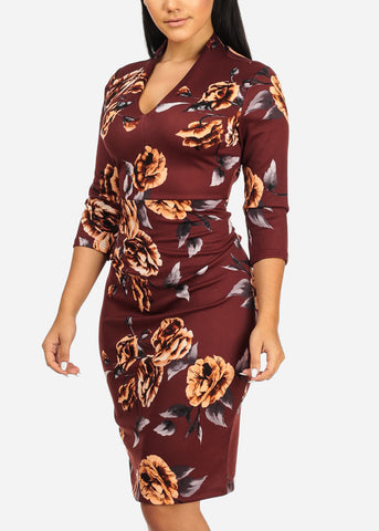 Image of Floral Print Rust Dress
