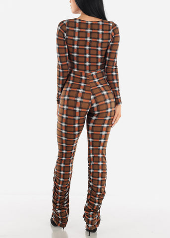 Brown Vneck Jumpsuit