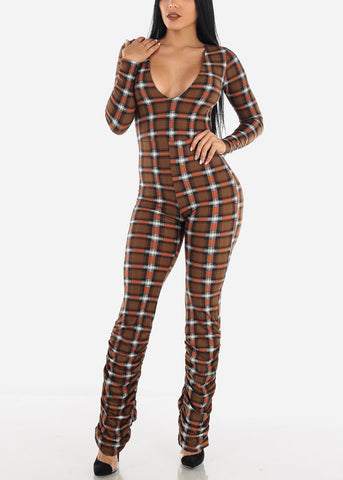 Image of Brown Vneck Jumpsuit