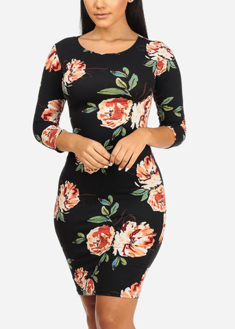 Black and Red Rose Bodycon Dress