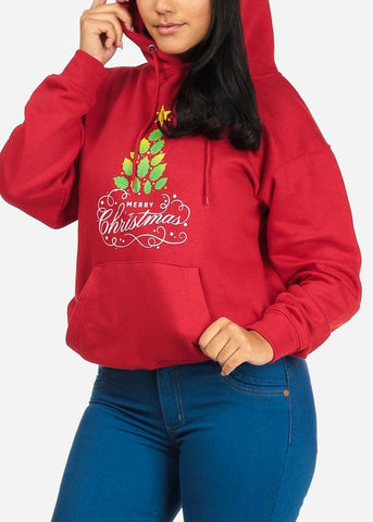 Cozy Merry Christmas Graphic Print Long Sleeve Red Sweater W Hood