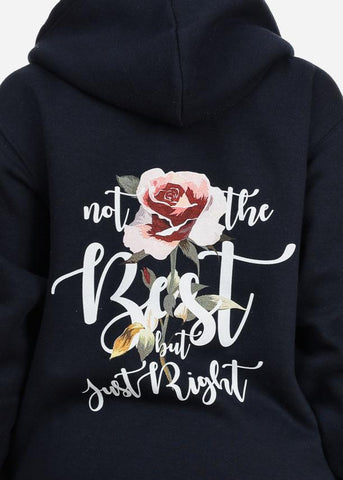 Image of Best Floral Graphic Print  Long Sleeve Zip Up Navy Sweater