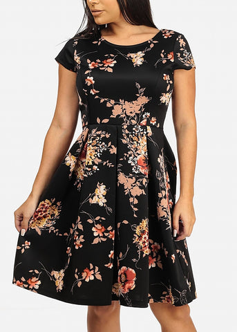 Image of Black Floral Print Dress