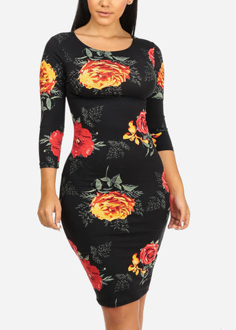 Black and Yellow Rose Bodycon Dress