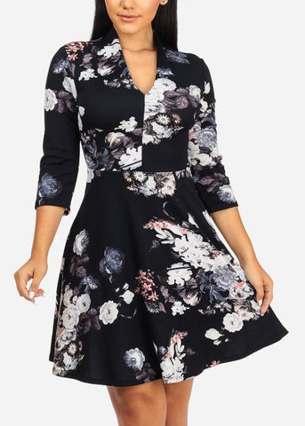 Fit And Flare Floral Navy Dress