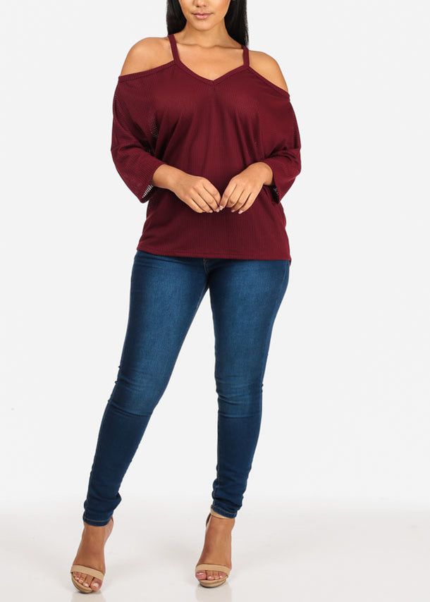 Burgundy Knitted Tunic Top