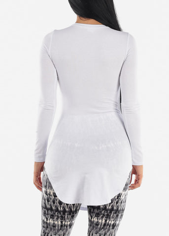 Side Slits White Tunic Top