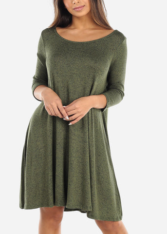 Image of Casual Olive Dress