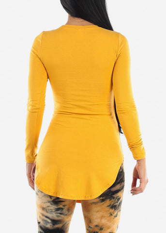Side Slits Mustard Tunic Top