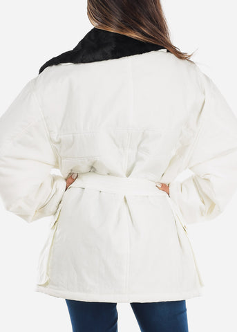 Image of Faux Fur Lined White Winter Jacket