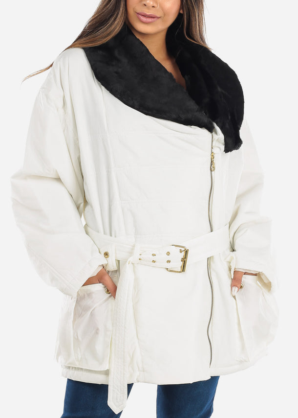 Faux Fur Lined White Winter Jacket
