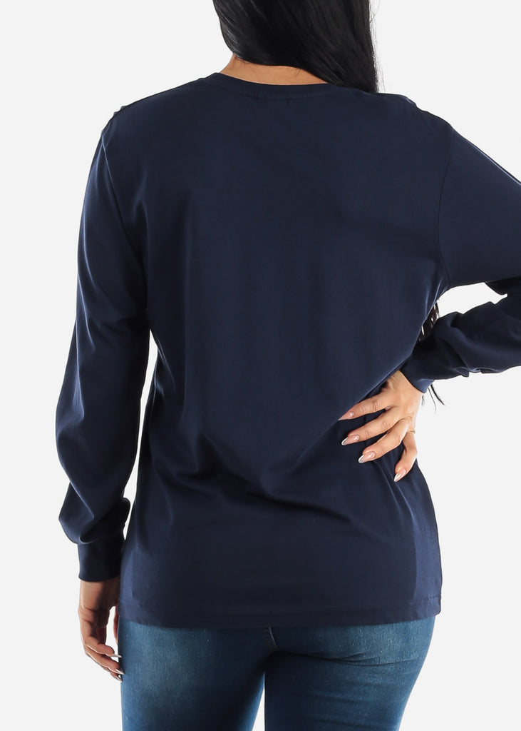 Long Sleeve Crew Neck Navy Top