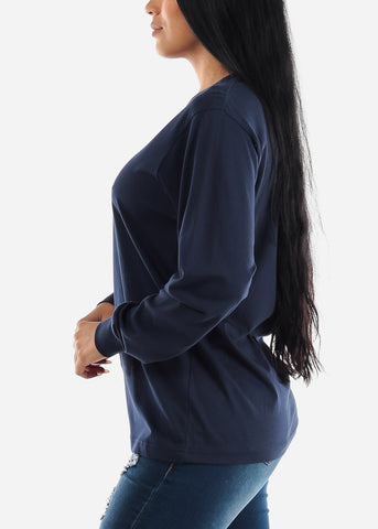 Image of Long Sleeve Crew Neck Navy Top