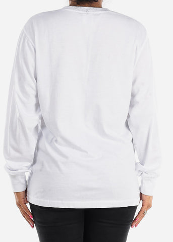 Image of Long Sleeve Crew Neck White Top