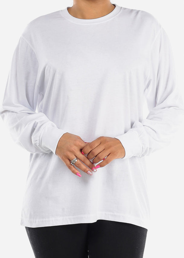 Long Sleeve Crew Neck White Top