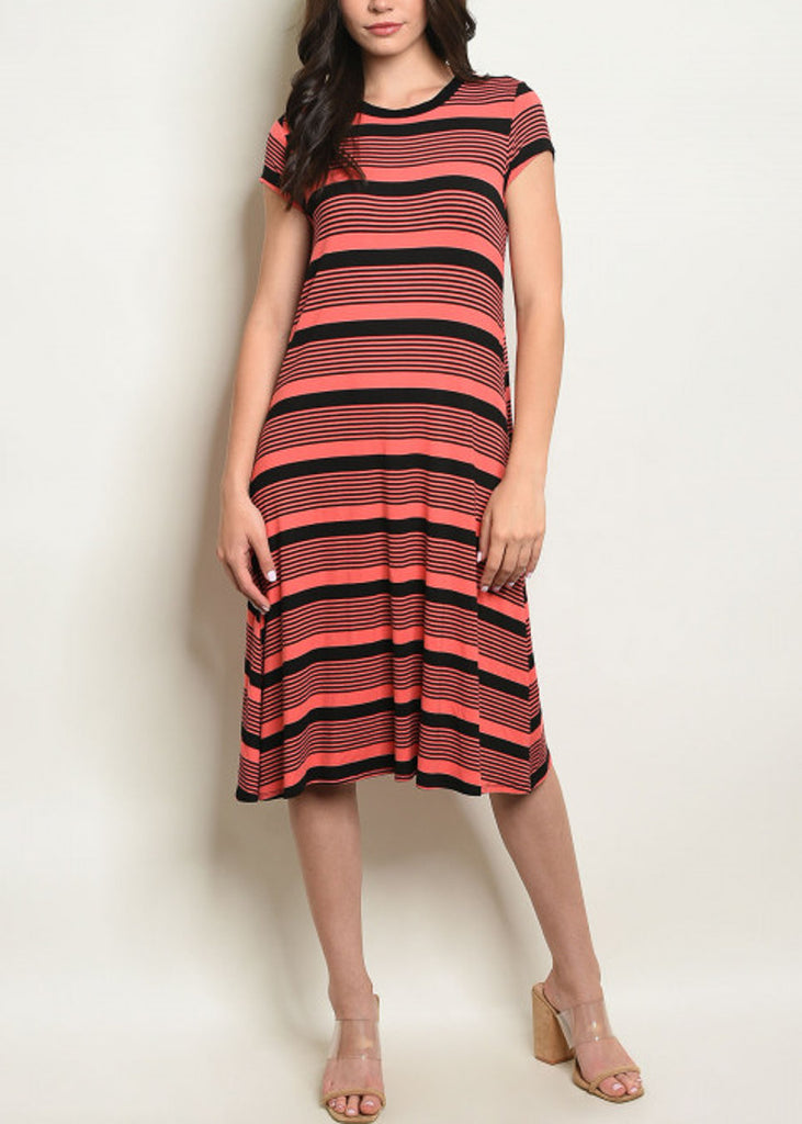 Short Sleeve Stripe Midi Dress