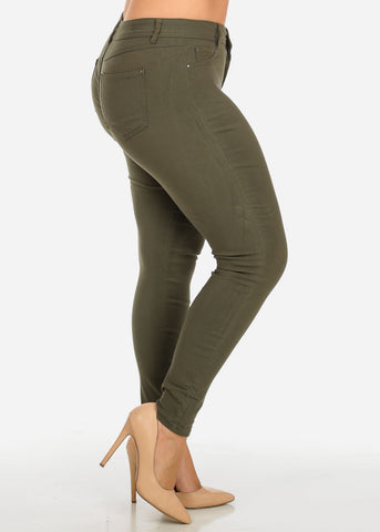 Image of Olive One-Button Stretchy Skinny Pants